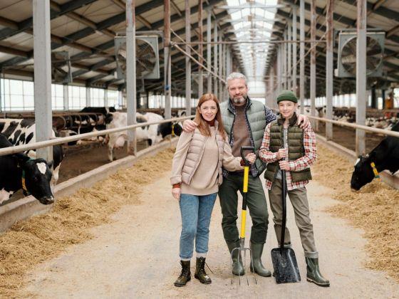 Contemporary family of farmers